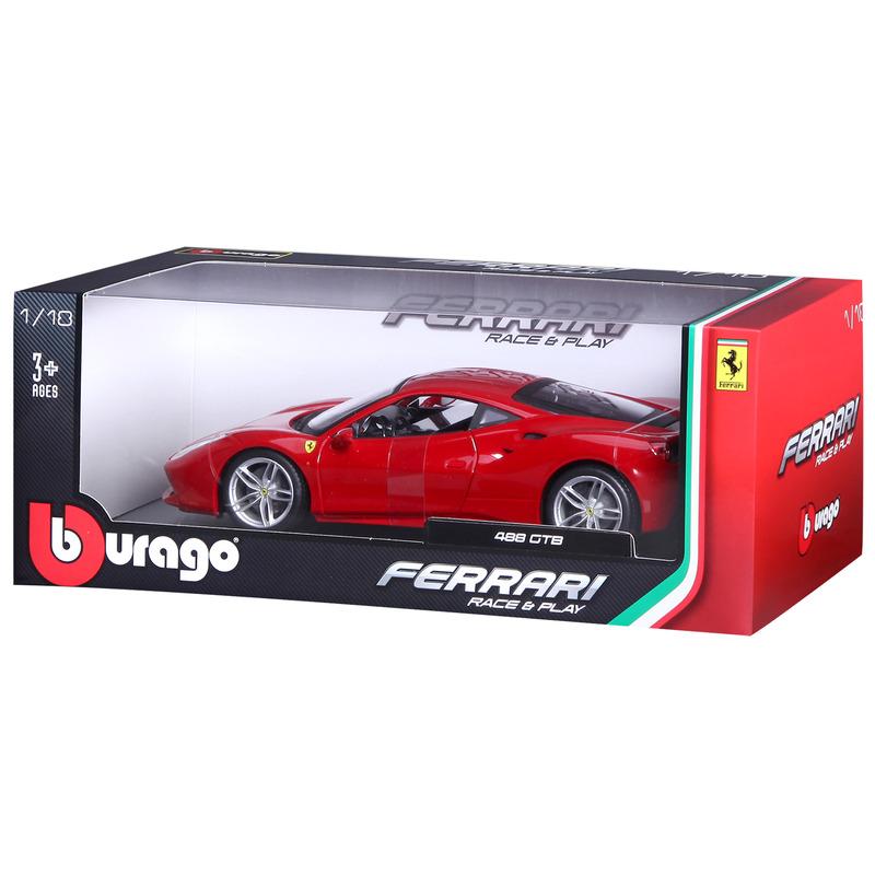 Ferrari 488GTB Race and Play RACE & PLAY - Red 1:18 BBURAGO B18-16008